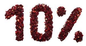 10 percent van hibiscusthee op een witte geïsoleerde achtergrond Royalty-vrije Stock Afbeeldingen