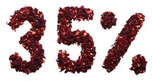 35 percent van hibiscusthee op een witte geïsoleerde achtergrond Stock Afbeelding