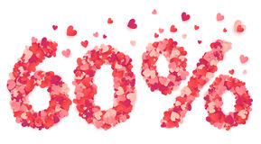 60 percent vector number made from pink and red confetti hearts. 60 percent vector percentage number made from pink and red confetti hearts Stock Photos