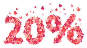 20 percent vector number made from pink and red confetti hearts Stock Photography