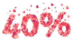 40 percent vector number made from pink and red confetti hearts. 40 percent vector percentage number made from pink and red confetti hearts vector illustration