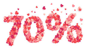 70 percent vector number made from pink and red confetti hearts Royalty Free Stock Photo