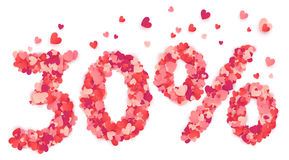 30 percent vector number made from pink and red confetti hearts Stock Images