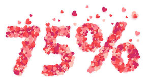 75 percent vector number made from pink and red confetti hearts Royalty Free Stock Image
