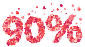 90 percent vector number made from pink and red confetti hearts Royalty Free Stock Image