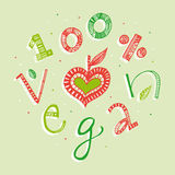 100 percent vegan hand lettering illustration Royalty Free Stock Photos