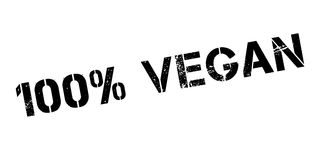 100 percent vegan rubber stamp. On white. Print, impress, overprint Stock Photo