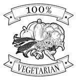 100 percent vegetarian label. 100 percent vegetarian food icon of vegetables in a stamp style Royalty Free Stock Images