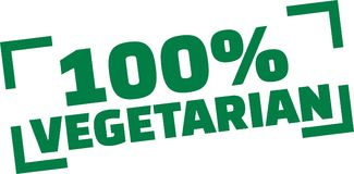 100 percent Vegetarian stamp. Vector vector illustration