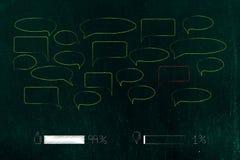 1 percent verbiedt commentaren met rode toespraakbel en 99 per c stock illustratie