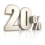 20 Percent  on White Background. 3d Render Stock Photography