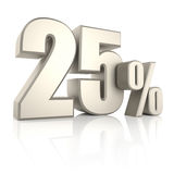25 Percent  on White Background. 3d Render Stock Photo