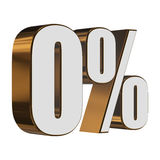 0 percent on white background Stock Image
