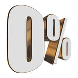 0 percent on white background Stock Photo