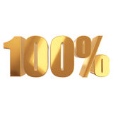 100 percent on white background. Gold 100 percent on white background. 3d render illustration Royalty Free Stock Images