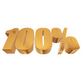 100 percent on white background. Gold 100 percent on white background. 3d render illustration Stock Photo