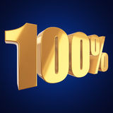 100 percent on white background. Gold 100 percent on white background. 3d render illustration Stock Images