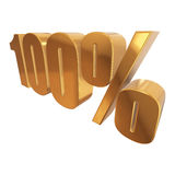 100 percent on white background. Gold 100 percent on white background. 3d render illustration Royalty Free Stock Image