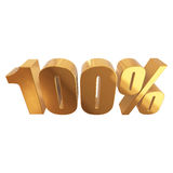 100 percent on white background. Gold 100 percent on white background. 3d render illustration Royalty Free Stock Photography