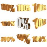 100 percent on white background. 100 percent set on white background. 3d render illustration Royalty Free Stock Photo