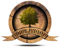 100 Percent Wood - Symbol with Tree Stock Image