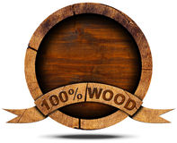 100 Percent Wood - Wooden Icon Stock Photography