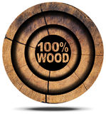 100 Percent Wood - Wooden Icon Stock Images