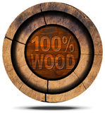 100 Percent Wood - Wooden Icon Royalty Free Stock Photography