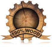 100 Percent Wood - Wooden Icon Royalty Free Stock Images