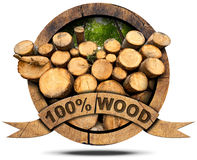 100 Percent Wood - Wooden Icon Royalty Free Stock Photos