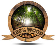 100 Percent Wood - Wooden Icon Stock Photo