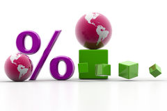 Percent and world Stock Images