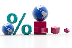 Percent and world Stock Photos