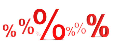 Percentage. Interest isolated on a white background Royalty Free Stock Photos
