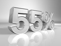 Percentage. 55% discount percentage 3d rendered Stock Photo