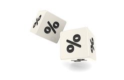 Percentage. Dices with percentage sign. White and black Royalty Free Stock Photography