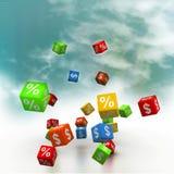 Percentage And Dollar Cubes Stock Photos