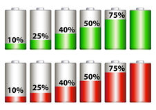 Percentage of battery. Red and green in white background eps Royalty Free Stock Photos