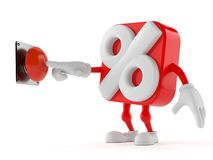 Percentage character pushing button. On white background. 3d illustration Stock Photos