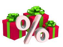 Percentage and Christmas gifts Stock Photos
