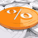 Percentage Coin Shows Interest  Earn And Owed Stock Photo