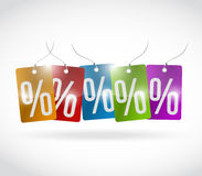 Percentage colors tags illustration design. Over a white background Stock Photos