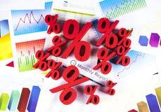 Percentage, Concept kortings kleurrijke toon Stock Afbeeldingen