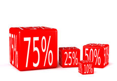 Percentage cubes. Red 3d cubes with percentage sign Stock Images