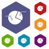 Percentage diagram icons set hexagon Royalty Free Stock Image