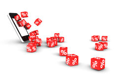 Percentage dices rolling out of smartphone Royalty Free Stock Photography