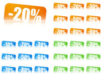 Percentage Discount Labels With Reflection Effect Stock Images