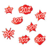 Percentage discounts of various forms Royalty Free Stock Images