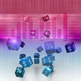 Percentage and dollar cubes Royalty Free Stock Photo