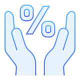 Percentage flat icon. Sale blue icons in trendy flat style. Percent sign in hands gradient style design, designed for. Web and app. Eps 10 royalty free illustration